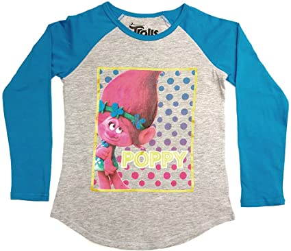 404c997a Trolls Girls' Big Girls' Poppy Long-Sleeved Raglan T-Shirt with Shirttail