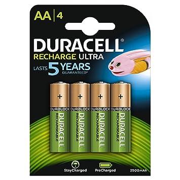 Duracell - Pilas Recargables AA (2500 mAh, 4 Unidades, Recargables, Recargables, Recargables, 4 Unidades)