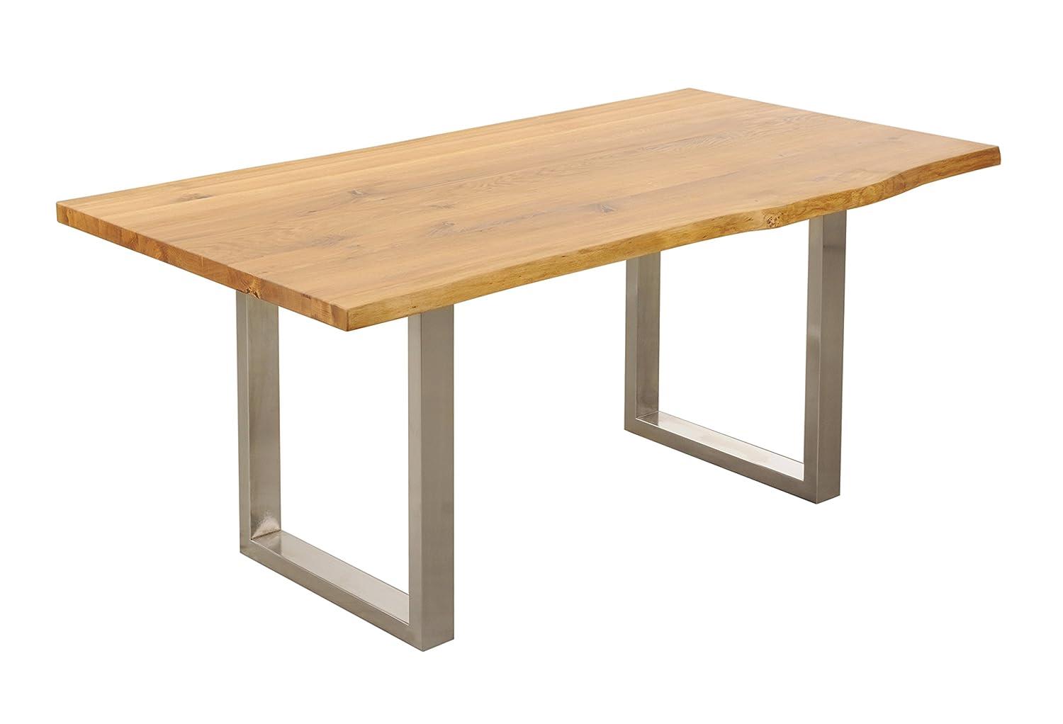 Tisch mit Baumkante Baumtisch 220x100 'Amber II' Wildeiche massiv Holz geölt