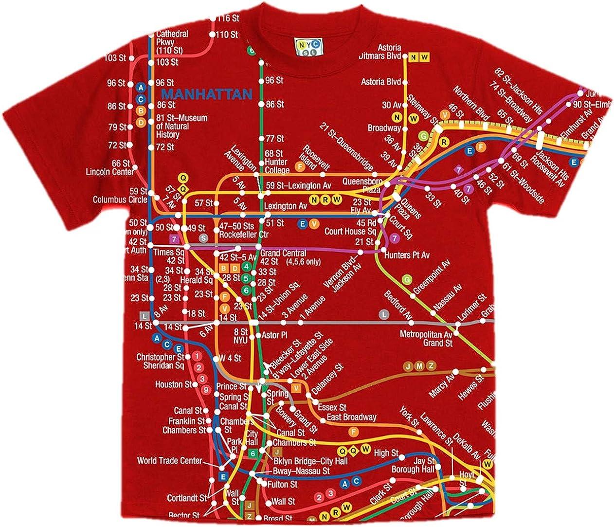 subway map t shirt Amazon Com Nyc Subway Line Red Manhattan Map Tee Adult Xxl