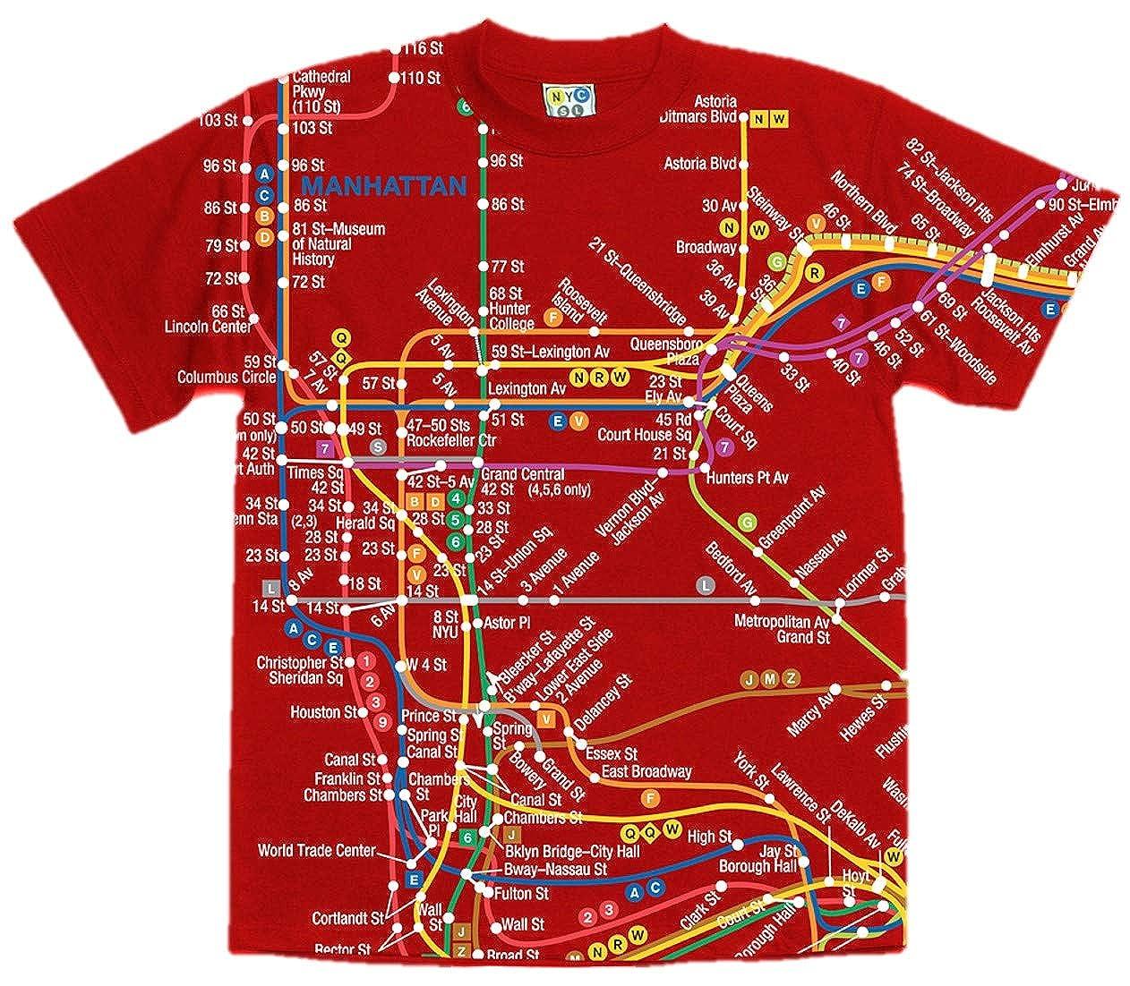 Nyc Subway Map T Shirts.Amazon Com Nyc Subway Line Red Manhattan Map Tee Adult Xxl Clothing