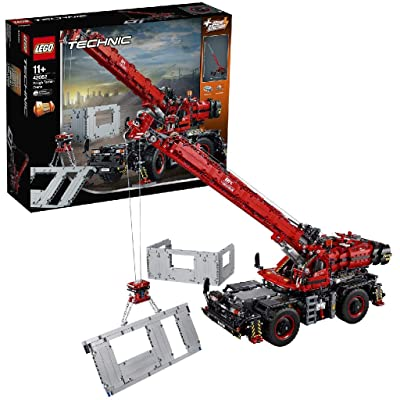 LEGO 42082 Technic Rough Terrain Crane 2 in 1 Mobile Pile Driver Heavy Duty Truck with Power Functions Motor, Advanced Building Set, Construction Vehicles Collection: Toys & Games