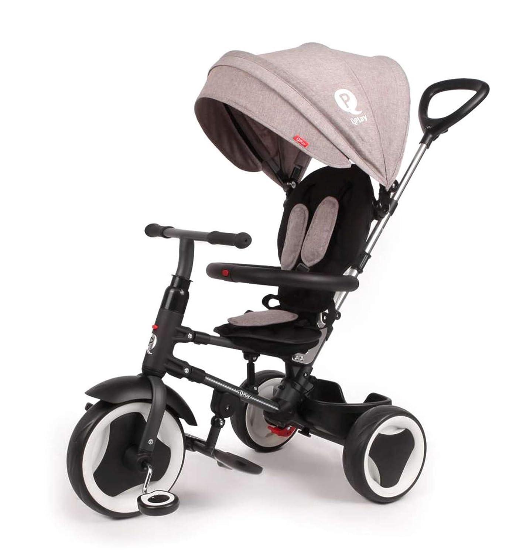QPlay Kinder Dreirad Prime 4in1 Grau mit UV-Dach und Verstellbarer Schubstange