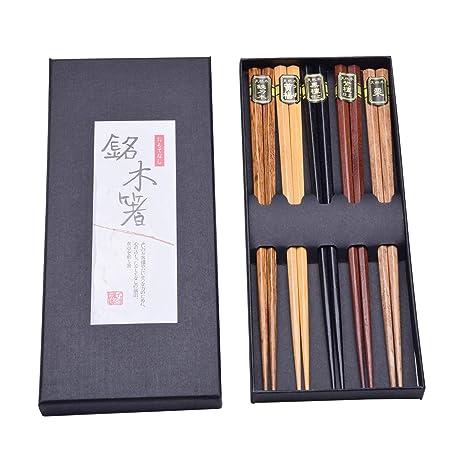 Easy-Room - Palillos de madera reutilizables, 5 pares con caja negra hecha a mano, palillos chinos para principiantes: Amazon.es: Hogar