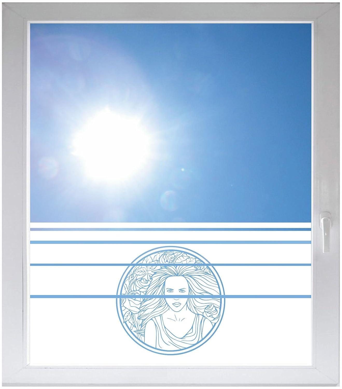 INDIGOS UG Sichtschutzfolie Glasdekorfolie Fensterfolie mit Motiv satiniert Blickdicht - d121 klasse Mädchen mit tollen Blumen - 1000 mm Länge - 500 mm Höhe Streifen