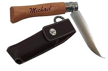 Opinel cuchillo carbone, navaja juego con funda y grabado ...