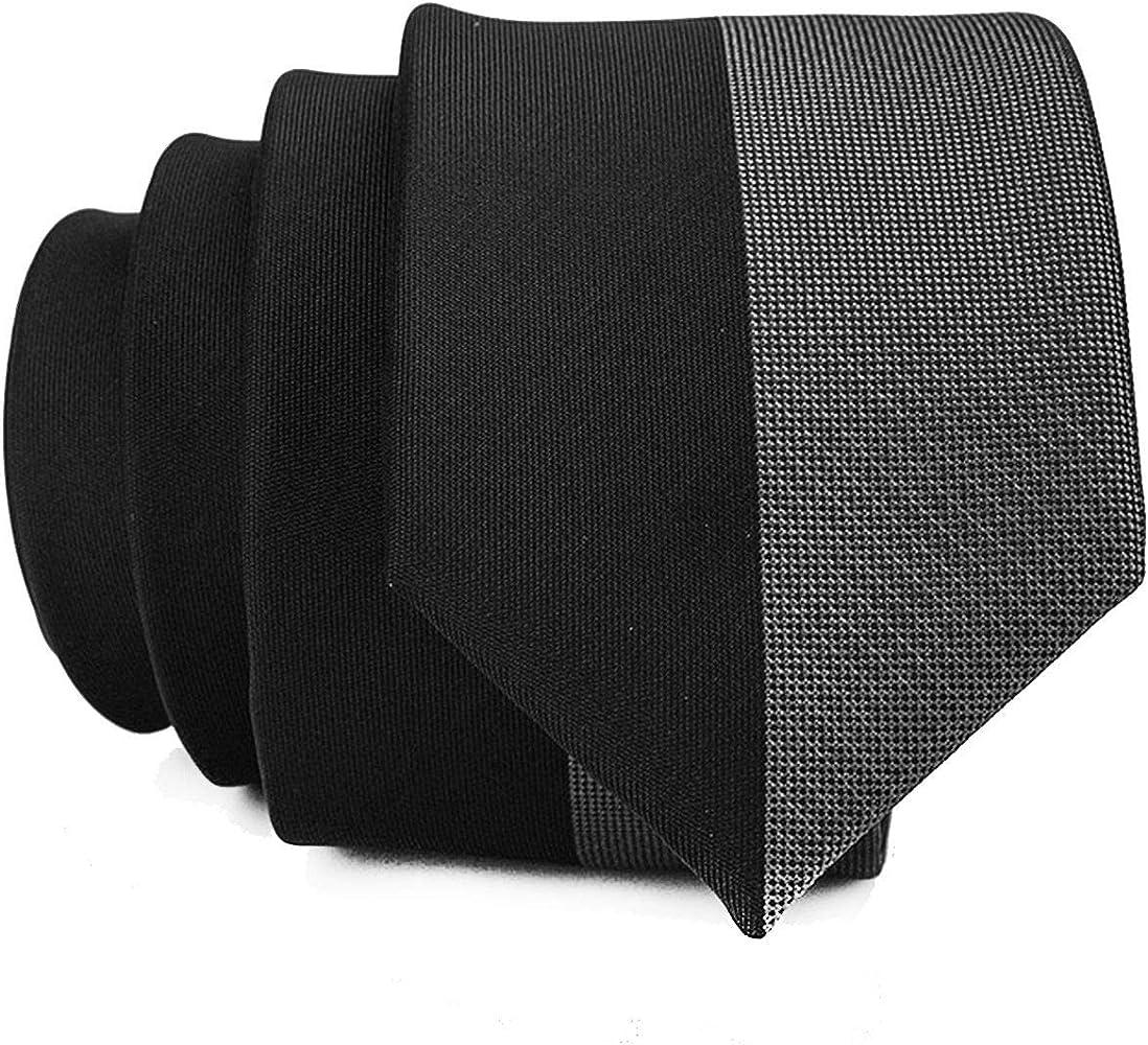 LUCKCHN Corbata delgada para hombre, color negro y gris, para ...