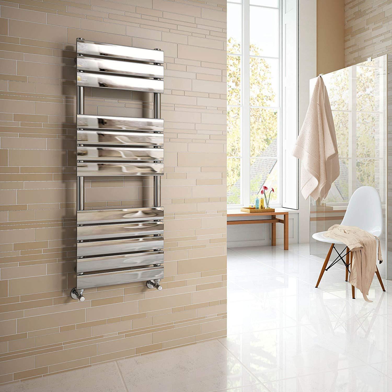 Soak Radiador toallero de dise/ño de 1200mm x 450 con paneles planos y acabado cromado
