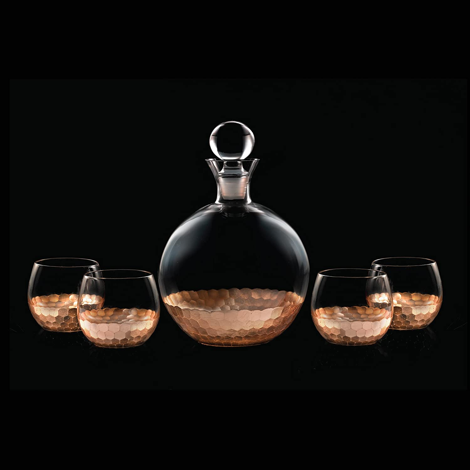 Fitz and Floyd Daphne 5 Piece Decanter Set, Copper | amazon.com