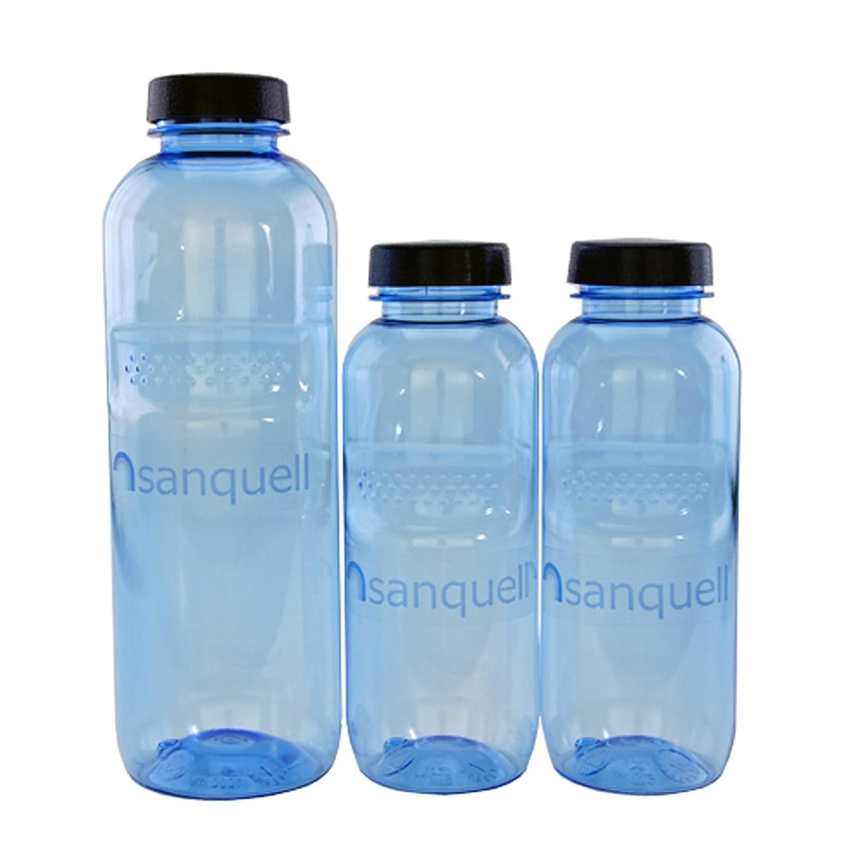 Sanquell 05 - Bottiglie in tritano, senza BPA, con coperchio, 1 da 1 litro e 2 da 0,5 litri