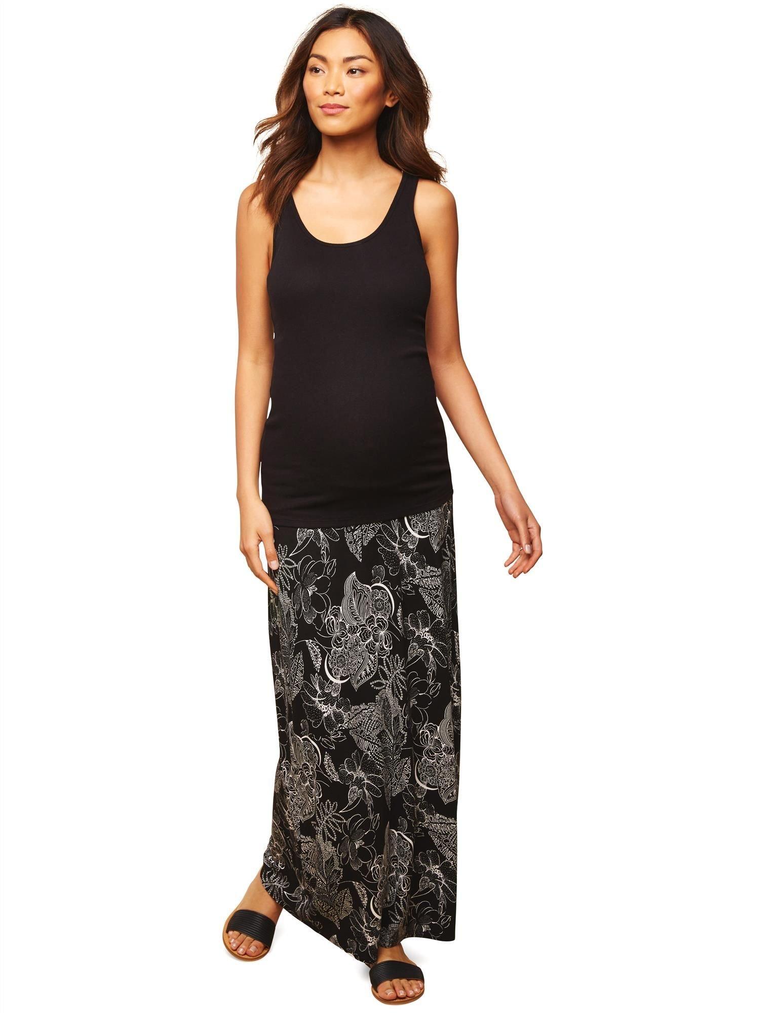 Motherhood Fold Over Belly Front Slit Maternity Maxi Skirt