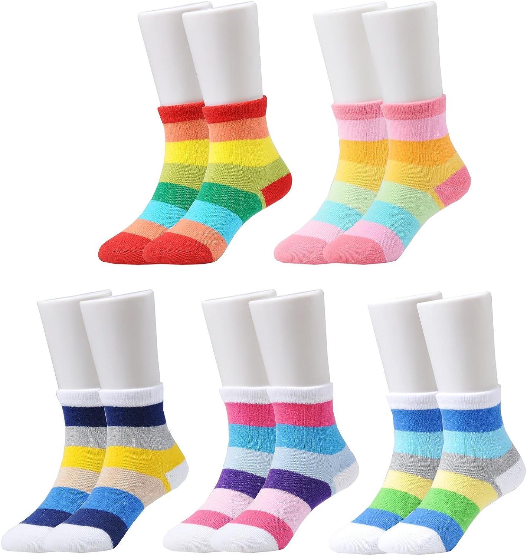 Epeius Kids Girls' 5 Pack Seamless Rainbow Stripes Crew Socks: Clothing