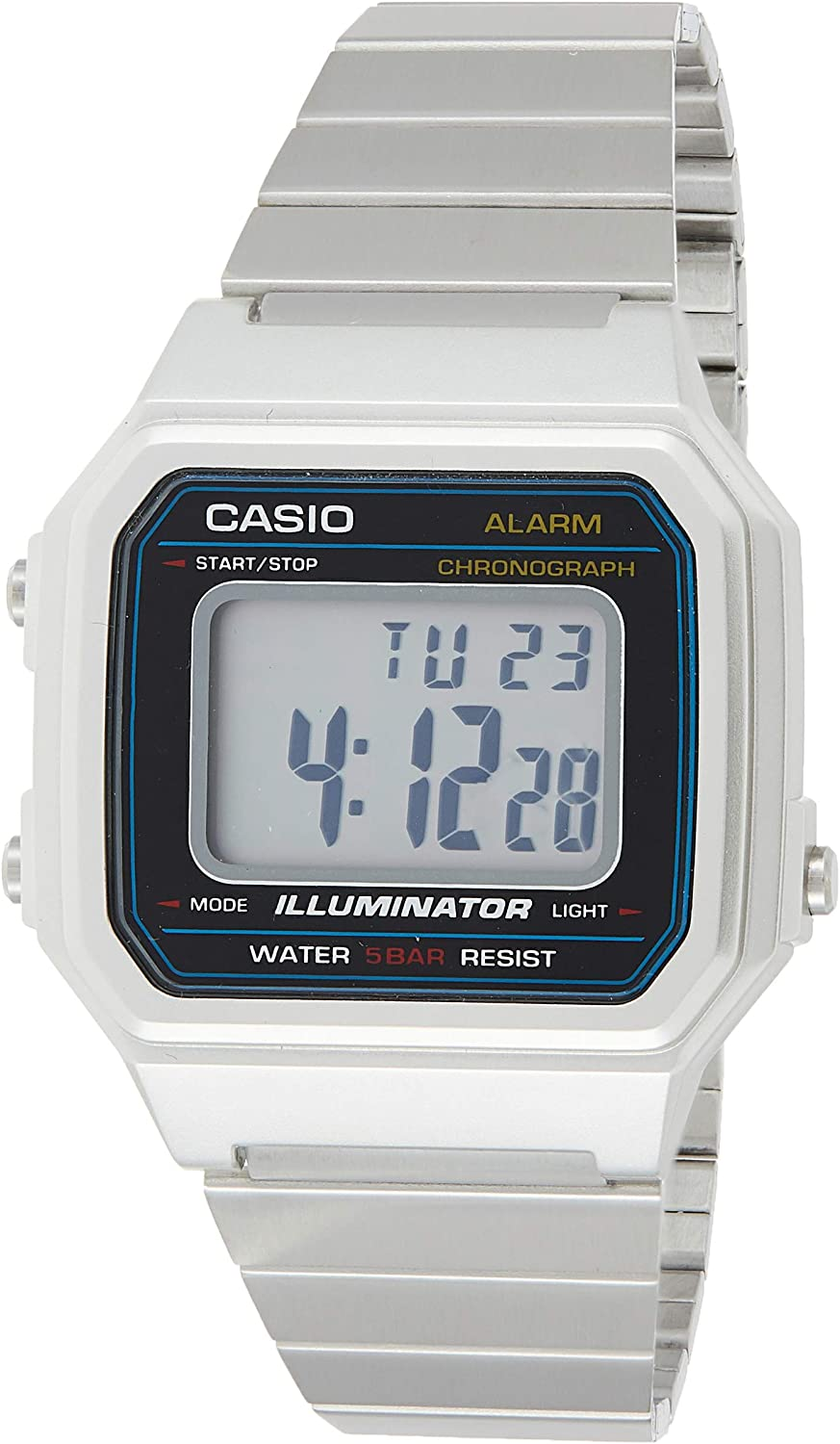 Casio Men's Classic Quartz Watch with Stainless-Steel Strap, Silver, 22.7 (Model: B650WD-1ACF)