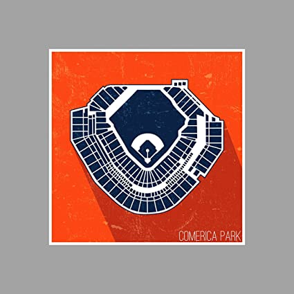 Amazon.com: ArtsyCanvas Comerica Park Seating Map - Baseball Seating ...