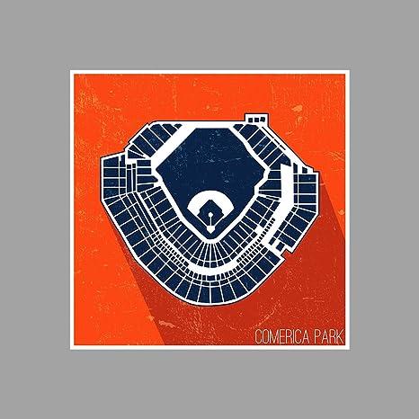 ArtsyCanvas Comerica Park Seating Map - Baseball Seating Map - 12x12 ...