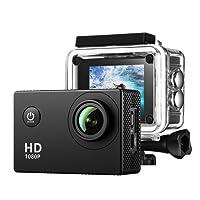 Caméra Sport TopElek Caméra Embarquée Étanche 30M Full HD 1080P Caméra Action Sport,170 °Grand-Angle, Kit d'Accessoires fourni, Caméscope Moto, Vélo, VTT, Parachute