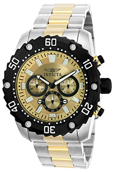 510a6bdae Invicta 22519 Pro Diver Men's Wrist Watch Stainless Steel Quartz Gold Dial:  Amazon.co.uk: Watches