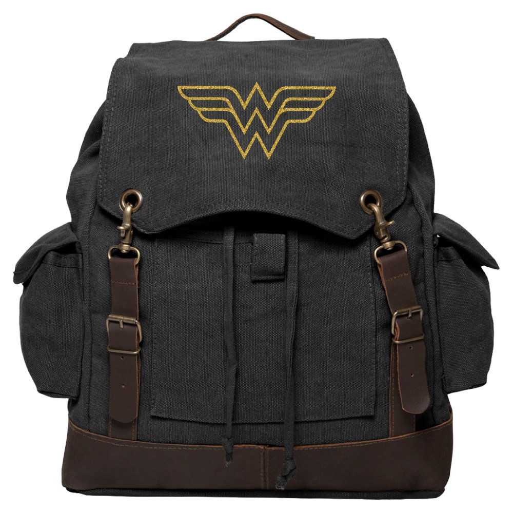 Wonder Woman Symbol Canvas Rucksack Backpack w/Leather Straps Black & Gold