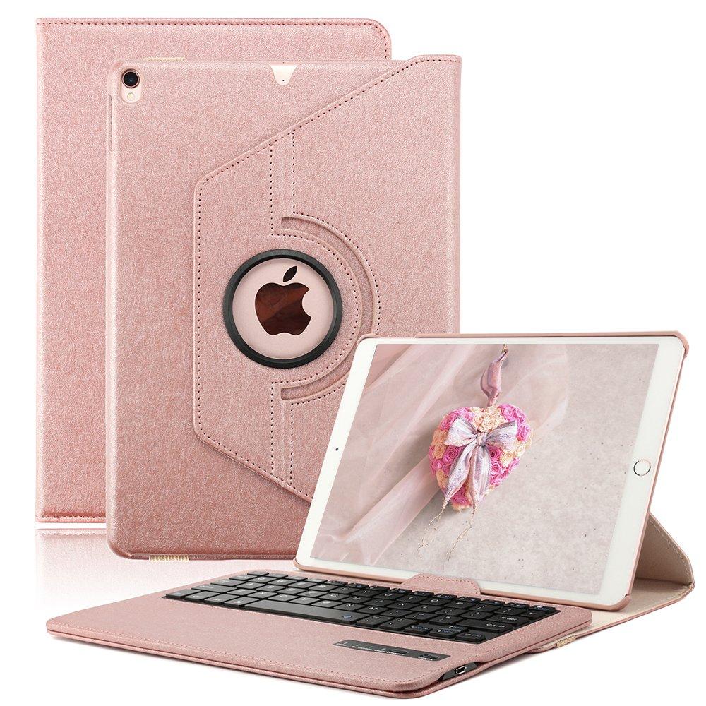 KVAGO Keyboard Case for iPad Pro 10.5 inch, Stylish 360 Degree Rotating Swivel Case with Detachable Wireless Bluetooth Keyboard for Apple iPad Pro 10.5 (Rose Gold)