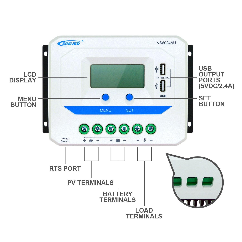 sumicorp.com VS6024AU EPEVER Solarladeregler PWM 60 A 12 V/24 V ...