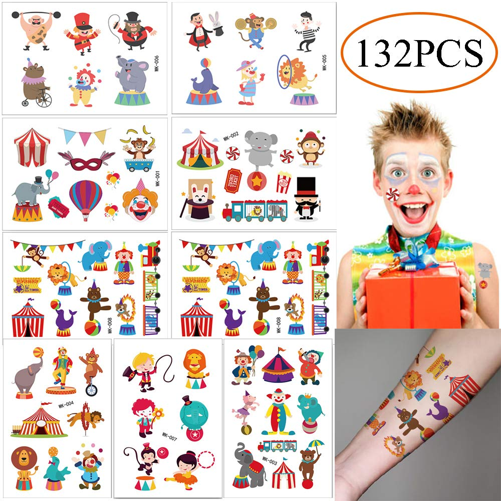 78f82e4e3 Amazon.com: 132PCS Circus Temporary Tattoos for Kids - Carnival Baby  Shower/Birthday Party Supplies Under the Big Top Party Goodie Bag Stuffers  Favors(16 ...