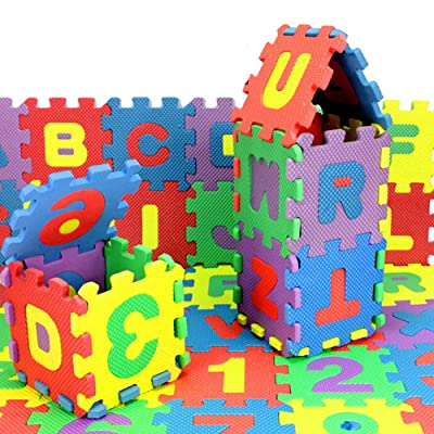 36pcs/Set Kids Foam Alphabet Number Puzzle Mini Kids Crawling Foam Mat Baby Educational Toys Foam Crawling Playmats, Safe, Non-Toxic, Funny: Toys & Games