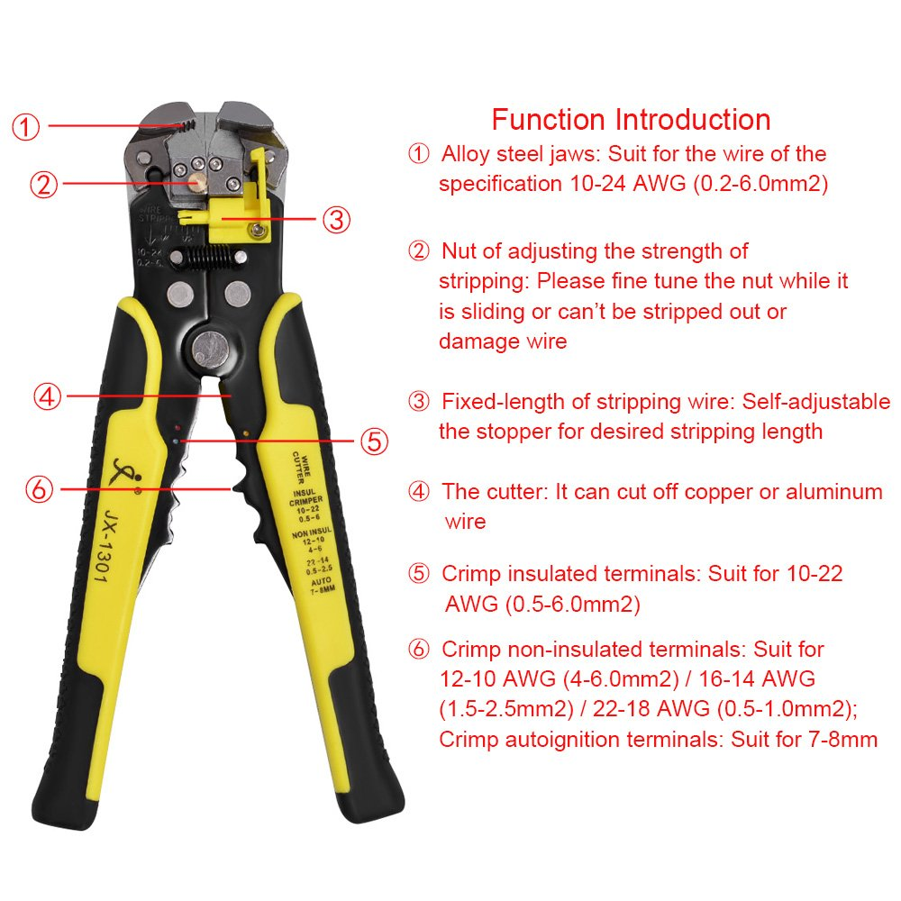 Awineur Wire Stripper Piler 5 In 1 Multifunctional Automatic Copper Or Aluminum Wiring Cable Cutter Crimping Tool Peeling Pliers Cutting Stripping Up To 24 Awg