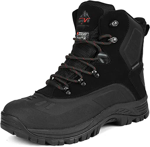 NORTIV 8 Men's Insulated Waterproof Construction Hiking Winter Snow Boots in black color, rubber sole with cushioned EVA footbed for maximum comfort.