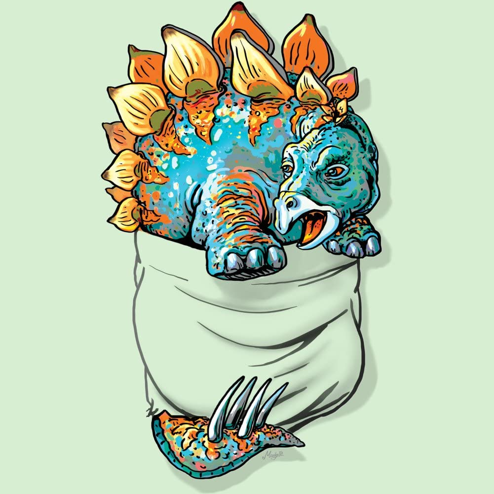 Design By Humans Stegosaurus Dinosaur Pocket Tee Girls Youth Graphic T Shirt