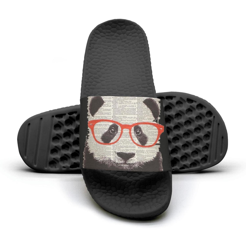 Newspaper Glasses Nerd Panda Mens Shower Athletic Slides Sandal Slippers Flip Flops