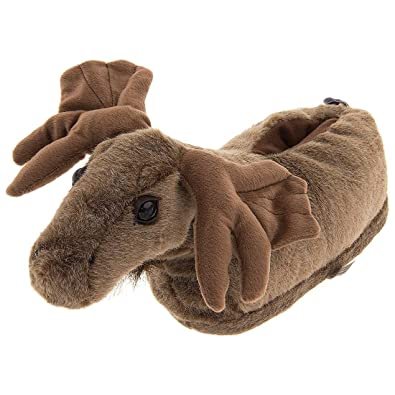 e6132f270716 Moose Animal Slippers for Women and Men Small Brown