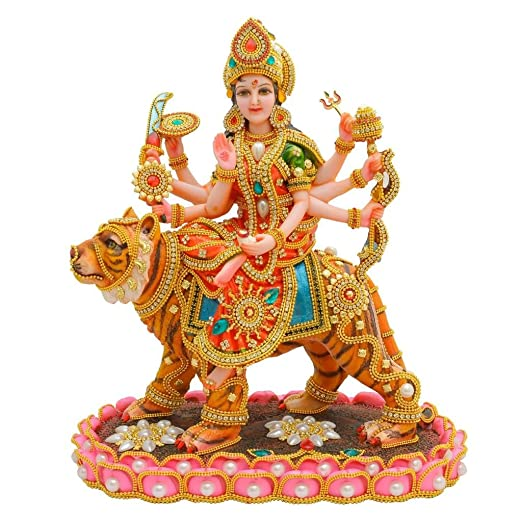 PAPILON Marble Handmade Gold Plated Goddess Kamal Durga Maa Showpiece, 15x9x15-inches, Multicolour Idols & Figurines at amazon
