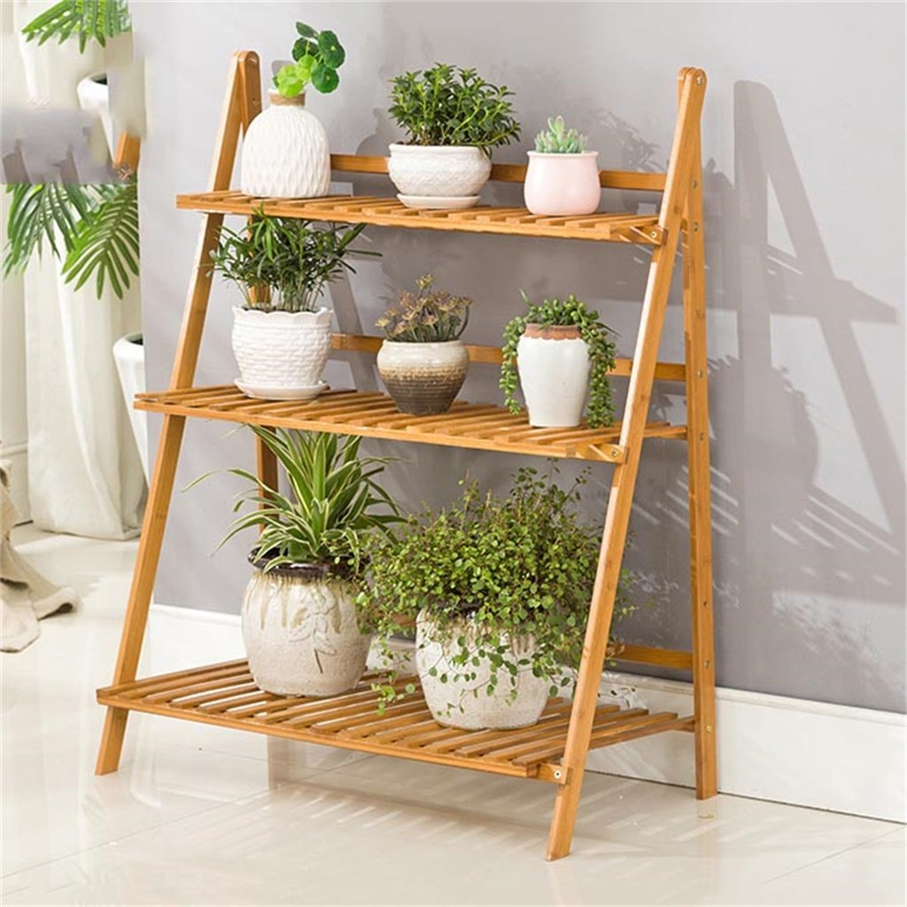 ALUS- Bamboo flower racks Living room solid wood Landing Multi-layer folding objects Balcony multi-storey pots ( Size : 6096cm ) by CXM-Flower Stand