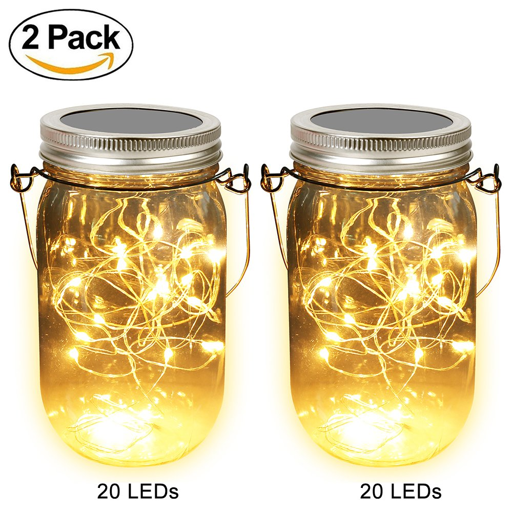 Solar Mason Jar Lights, Adecorty Outdoor Hanging Lights 2 Pack 20 LED String Fairy Star Firefly Jar Lights (Jars & Hangers Included) Warm White Waterproof Solar Lanterns for Garden Patio Outdoor Decor by Adecorty (Image #1)