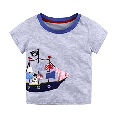 AliveGOT Unisex Baby Boys Girls Stripe Cartoon Print T Shirts Toddler Kids Short Sleeve Shirts Tops Outfits