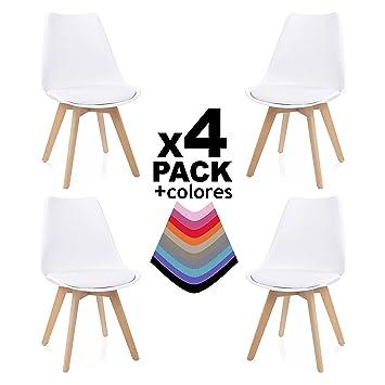 duehome - Beench - Pack de 4 sillas, silla comedor, salón, cocina o ...