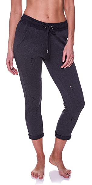 5ff9dedafd0de N.Y.L. New York Laundry Women's Distressed Workout Pockets Drawstring  Jogger Sweatpants Charcoal Heather Small