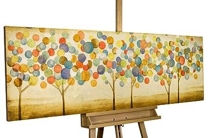 Kunstloft® Cuadro en acrílico Hojas de otoño 150x50cm | Original Pintura XXL Pintado a Mano | Árboles en el Bosque Abstracto Dorado Cuadro acrílico ...