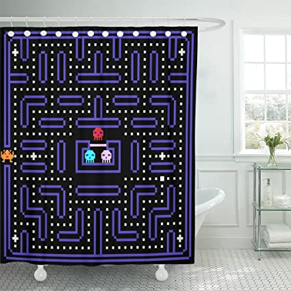 TOMPOP Shower Curtain 80S 8 Bit Pixel Retro Arcade Game Old Video Waterproof Polyester Fabric 72