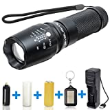BYBLIGHT 800 Lumens CREE LED Torch, Adjustable Focus LED Flashlight with USB Charger and 26650 Rechargeable Battery, 5 Modes and Waterproof LED Torch for Indoor and Outdoor Use