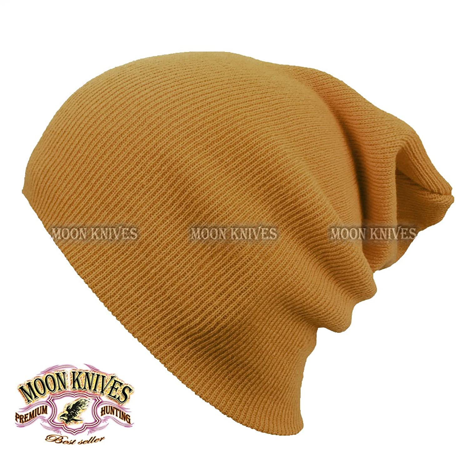 7ca92fecb31ec1 Cuff Beanie Knit Hat Winter Warm Cap Slouchy Skull Ski Hats Men Women Warm  Plain TAN by MOON KNIVES