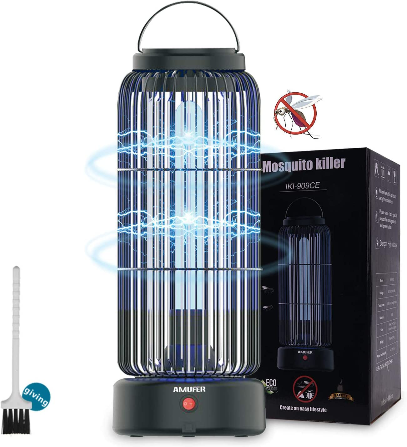 AMUFER Electric Bug Zapper High Powered Mosquito Killer with 11W Fly Insect Trap Lamp Bulb, Portable Hanging Pest Control 430sq.Ft Coverage for Indoor, Home, Bedroom, Kitchen, Office