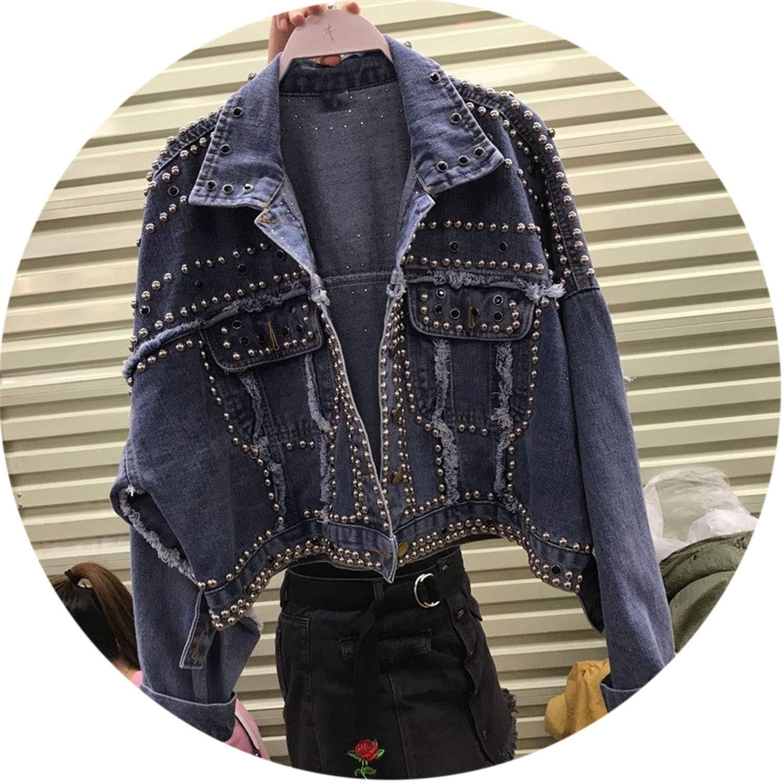 bluee The fairy Rivet Diamonds Beading Denim Jacket Single Breasted Coat