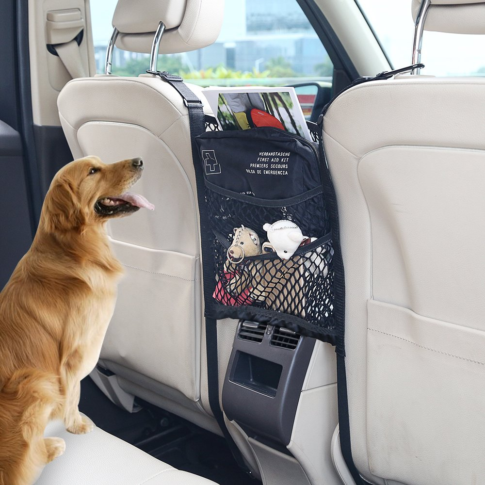 Backseat Pet Barrier Oxford Washable KALASONEER Dog Car Barrier 3-Layer Car Mesh Organizer Universal Fit 10.8inches x 11.8inches Seat Back Storage Pocket