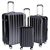 """Yescom 3 Piece Luggage Set 20"""" 24"""" 28"""" Rolling Travel Case 4 Wheels Spinner Suitcase Lightweight Lockable ABS Black"""