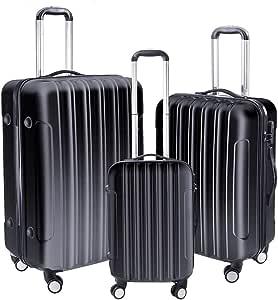 Yescom 3 Piece Luggage Set Rolling Travel Case 4 Wheels Spinner Suitcase Lightweight Hard Shell Suitcase Set