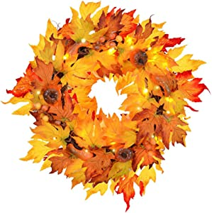 """MorTime Thanksgiving Wreath with LED Lights Pumpkin Pinecones Red Berries Maple Leaves, 17"""" Harvest Day Themed Hanging Silk Fall Door Wreath Welcome Sign for Garden Gate Home Thanksgiving Decorations"""