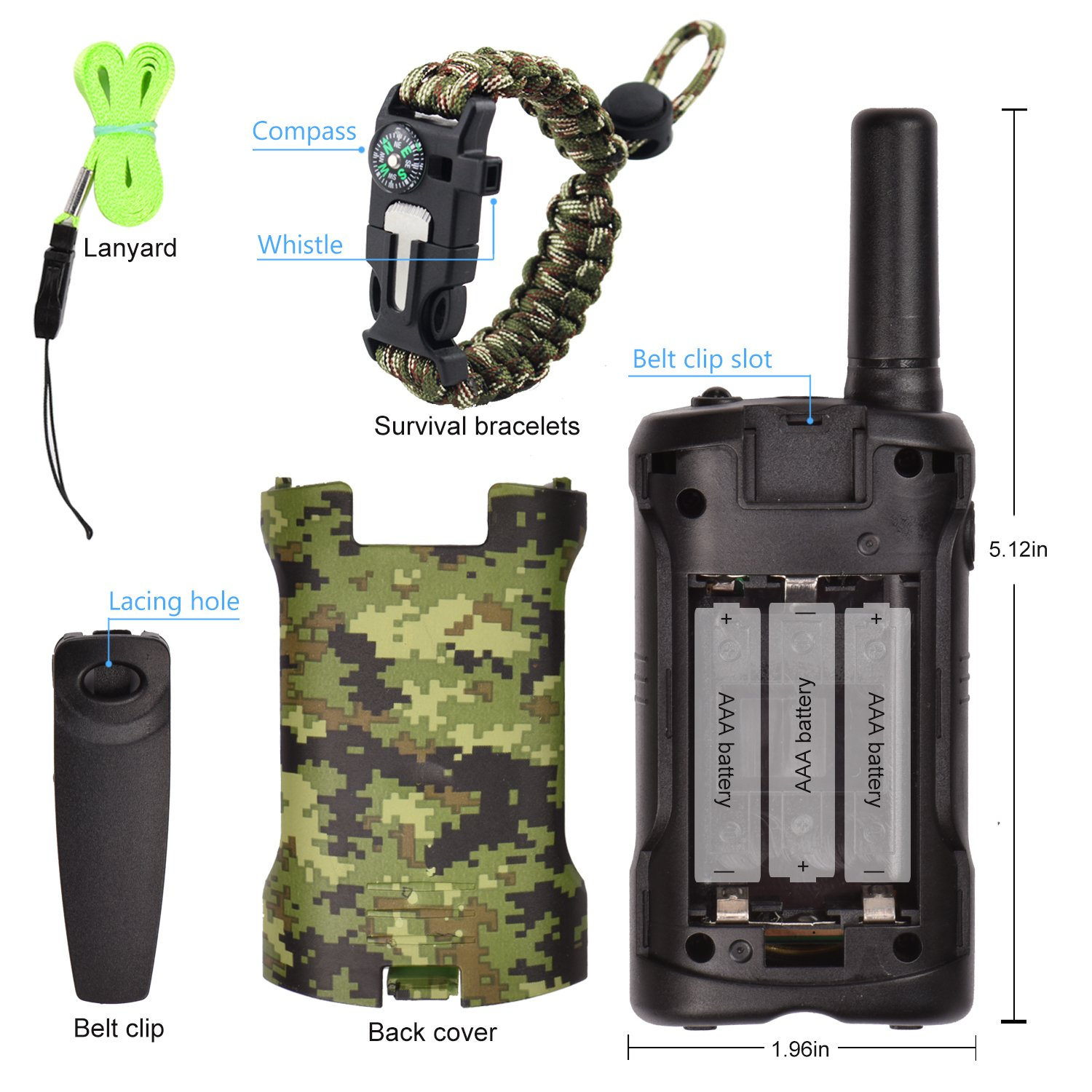 Walkie Talkies for Kids 22 Channel 2 Way Radio 3 Miles Long Range Handheld Walkie Talkies Durable Toy Best Birthday Gifts for 6 year old Boys and Girls fit Outdoor Adventure Game Camping (Green Camo) by Aikmi (Image #5)