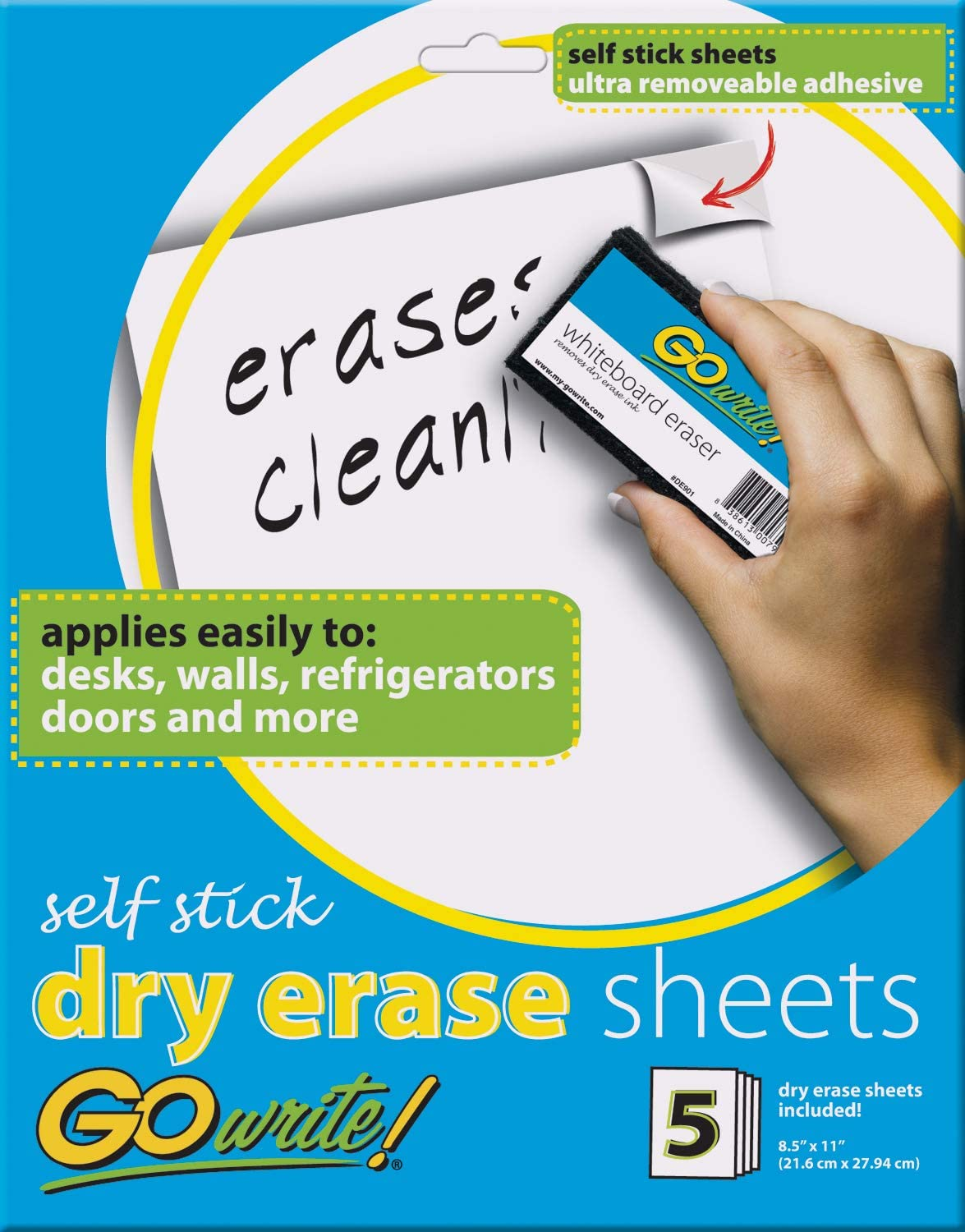 """GoWrite! Dry Erase Sheets, Self-Adhesive, 8-1/2"""" x 11"""", White, 5 Sheets : Dry Erase Board Sticky : Office Products"""