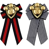 Dolity 2pcs Vintage Bow Tie Striped Fabric Women Ladies Brooch Pin Collar Jewelry